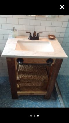 Custom reclaimed wood vanity with steel pipe towel bar. Counter top can be custom concrete and base can be stained to match your specifications or concrete left gray with natural wood finish. I encourage sending sample colors I can match if you wish. Vanity dimensions are completely customizable.