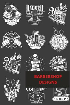 Monochrome Barbershop designs. Еhe emblems will be absolutely good for the creation of signboards, business cards, great barbershop and hairdressing salon interior design and exterior decorations. All elements are ready for printing on any items and surfaces. Download Barbershop vector designs on our website. Good price. #barbershop #vector #vectorillustration #barber #skull #skullart #interiordesign #exteriordesign Barber Apron, Barbershop Design, Salon Interior Design, Monochrome Fashion, All Fonts, Skull Art, Apparel Design, Trendy Hairstyles, Barber Shop
