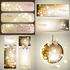 Golden #Christmas stars cards #vector