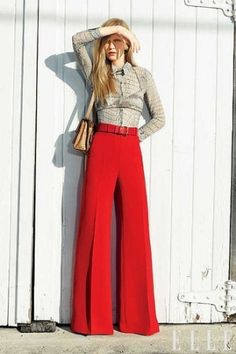 how to wear palazzo pants...let's welcome red palazzo pants at work with this look but avoid a stop at human resources and remove the barlette top.