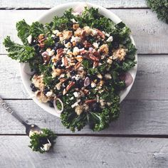 """Kale Quinoa Salad – """"This is a perfect lunchtime salad on a cool winter day, side for dinner along with a bowl of soup, and most definitely delicious enough to eat right out of the bowl! Kale Quinoa Salad, Olive Oil And Vinegar, Dried Blueberries, Food Articles, Bowl Of Soup, Dinner Salads, Yummy Food, Delicious Recipes, Side Salad"""