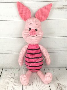 Piglet works up to approximately 22 inches in height (varies depending on tension and yarn used), perfect size for snuggles!