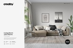 Living Room with Pillows Mockup by creatsy2 on @creativemarket
