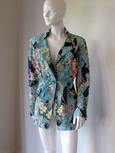Vintage 1980s Christian Lacroix Abstract Floral Print Blazer Jacket  with Sleeve Button Detail Bust 43