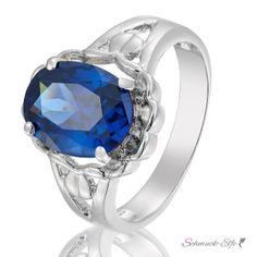 Ring blauer Saphir mit 18 K Weißgold vergoldet  im...
