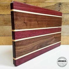 Wood Cutting Board Walnut Maple and Purple Heart 16x11
