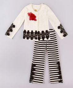 Love this Cream & Black Blazer & Stripe Pants - Toddler & Girls on #zulily! #zulilyfinds