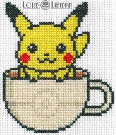 Title: Pikachu Tea Cup Date Completed: October 2016 Design: Lord Libidan Count: 16 Canvas: White Colours: 9 Video Game: Pokemon I recently saw a super s. Cross Stitch Games, Geek Cross Stitch, Cross Stitch Bookmarks, Beaded Cross Stitch, Cross Stitch Embroidery, Embroidery Patterns, Easy Cross Stitch, Kawaii Cross Stitch, Pokemon Cross Stitch