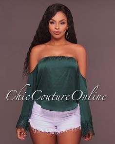 Chic Couture Online - Doves Emerald Green Off-The-Shoulder Top, (http://www.chiccoutureonline.com/doves-emerald-green-off-the-shoulder-top/)