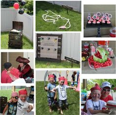 """pirate fun... used old crates to decorate, made a """"captain hook"""" ring toss - Shark watermelon and invited a pirate """"lady"""" to come and entertain - facepaint. It was  A TOTAL success! loved every minute."""