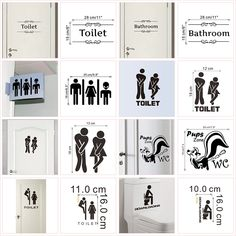 WC Toilet Entrance Sign Door Stickers For Public Place Home Decoration Creative Pattern Wall Decals Diy Funny Vinyl Mural Art Mirror Stickers, Door Stickers, Wall Decals, Vinyl Decals, Wall Art, Bathroom Door Sign, Entrance Sign, 50 Style, Smooth Walls