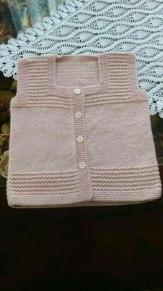Discover thousands of images about Hand knit baby vest /cardigan / with Teddy.Unisex baby by AnaSwetThis Pin was discovered by HUZ Baby Knitting Patterns, Knitting For Kids, Easy Knitting, Crochet For Kids, Knitting Designs, Knitting Stitches, Crochet Baby Jacket, Knitted Baby Cardigan, Knit Baby Sweaters