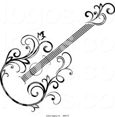 Free Clip Art Vector Logo of a Black and White Floral Vine .Royalty Free Clip Art Vector Logo of a Black and White Floral Vine . Guitar Logo, Guitar Clipart, Guitar Drawing, Guitar Art, Music Doodle, Doodle Art, Music Drawings, Art Drawings, Design Tattoos