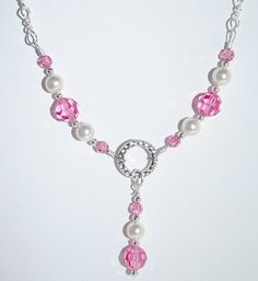 Swarovski Rose Crystal and White Pearl Necklace and Earrings Set