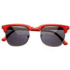 Retro Brow Half Frame Style Wayfarer Sunglasses