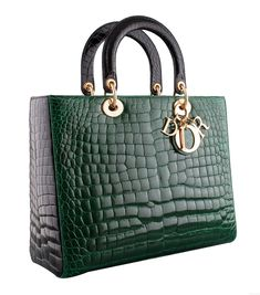 Lady Dior Bicolor Crocodile Large from Christian Dior! This limited-edition Lady Dior Bicolor Crocodile Large from Christian Dior is a beautiful bag in a green and Black Color Combination, Christian Dior Bags, Lady Dior, Leather Interior, Luxury Bags, Beautiful Bags, Gold Hardware, Crocodile, Shopping Bag