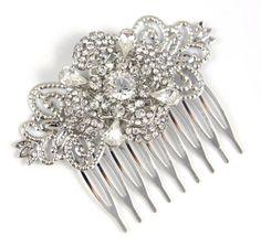 Alina  Wedding Hair Comb Bridal Accessories White by GlitzAndLove, $28.00
