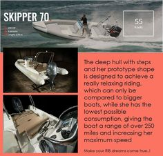 SKIPPER 70:  The deep hull with steps and her prototype shape is designed to achieve a really relaxing riding, which can only be compared to bigger boats, while she has the lowest possible consumption, giving the boat a range of over 250 miles and increasing her maximum speed  RIB boats...   Make your RIB dreams come true..!  contact: info@hst.gr https://www.charismerkatis.com/
