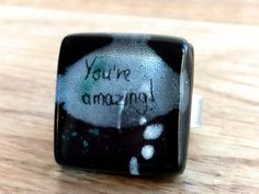 Inspirational ring  Fused glass ring  Adjustable ring by BGLASSbcn