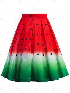 Knee Length Watermelon Print A Line Skirt - RED 2XL