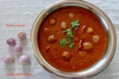 Aromatic and delicious Shallots Sambar, made with baby onions.