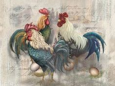 Art 'Rooster Trio' - by Alma Lee from Roosters Diy Painting, Painting On Wood, Decoupage, Beautiful Birds, Wooden Signs, Digital Prints, Fine Art, Wallpaper, Roosters