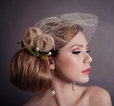 Stroik ślubny, fascynator,toczek,kwiat do włosów - fascynatoryatelier - Fascynatory i toczki