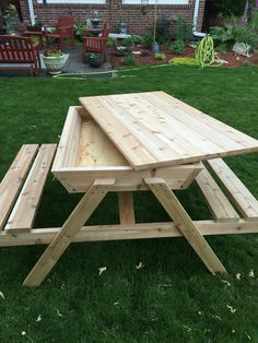 Kids Picnic Table Sand Box, Cedar Picnic Table, Ice Chest Picnic Tables