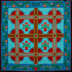 """the 2013 TQS Block of the Month designed by Sue Nickels and Pat Holly! It's called """"TWO OF US"""" and was created by the two of them. The quilt measures 77 1/2"""" x 77 1/2"""""""
