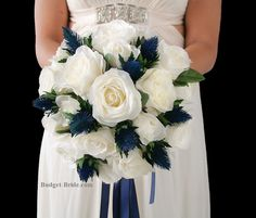 White Wedding Flower Bouquet with Navy Blue Thistles.  Navy Blue Ribbon Brides bouquet