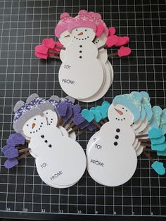 Snowman gift tags using Shape Up Snowman by Papertrey Ink.