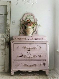 Shabby Chic Kitchen Art except Shabby Chic Kitchen Cabinets off Home Decorators Collection Madeline 48 In. Vanity because Home Decorators Collection Table at Shabby Chic Drop Leaf Kitchen Table Shabby Chic Dresser, Shabby Chic Furniture, Decor, Pink Dresser, Shabby Chic Bedrooms, Painted Furniture, Shabby Chic Decor, Shabby Chic Homes, Home Decor