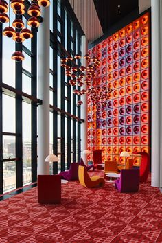 danismm: The interior design by Verner Panton of the office of the German magazine Der Spiegel in Hamburg. In 1969 the famous German newspaper decided to move to a new modern headquarter. via gorgonia Commercial Interior Design, Best Interior Design, Commercial Interiors, 1980s Interior, Design Hotel, Restaurant Design, Vintage Restaurant, Vintage Interiors, Colorful Interiors