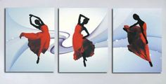 """THE DANCER IN A RED DRESS"" Dancer, 3 Piece Wall Art, Free Art, Abstract Art Collection, Hand Painted, Canvas Frame, Canvas Wall Art Set, Acrylic Art Print, Art"