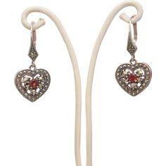 Italian silver, Garnet and Marcasite  dangle earrings, ca.1970 from akaham on Ruby Lane