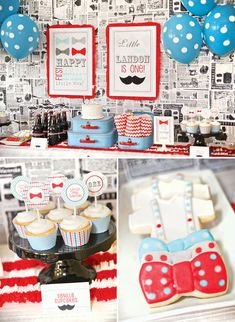 No little boys in my life, but this is too adorable to NOT pin! Little Man Mustache Bash First Birthday or Baby Shower... Maybe something similar for my husbands 50th????
