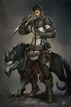 d&d human male fighter wolf - Pesquisa Google