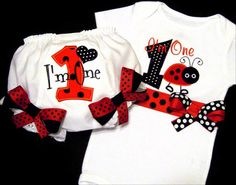 Ladybug First Birthday Girl Outfit I'm One Baby by whimsytots, $56.00
