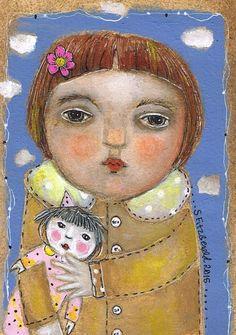 Original Mixed Media  Folk Art Modern painting by kittyjujube