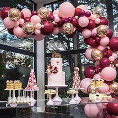 Confetti Balloons Wedding, Bridal Shower Balloons, Rose Gold Balloons, White Balloons, Gold Wedding Decorations, Kids Party Decorations, Decor Wedding, Balloon Decoration For Birthday, 18th Birthday Party Ideas Decoration