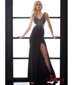 Jasz Couture 5054 Black Chiffon & Beaded Cut Out Prom Dress 2015 Prom Dresses