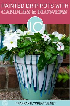 Drip painted flower pots are an easy DIY craft to make to decorate your front porch with candles and stone. Or they would make a nice wedding centerpiece. #terracotta #claypots #gardenart #flowerpot Easy Diy Crafts, Diy Craft Projects, Crafts To Make, Fun Crafts, Craft Ideas, Plastic Planters, Plastic Flowers, Painting Plastic, Drip Painting