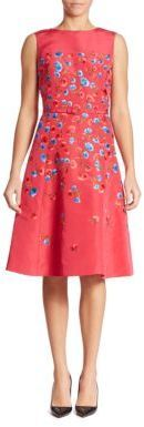 Oscar de la Renta Floral Embroidered Silk Faille Dress