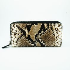 PYTHON LEATHER HANDCRAFTED ROUND ZIP BIFOLD PURSE LONG WALLET snk-1