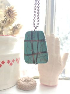 Handmade turquenite rock necklace with copper wire by IItarynII