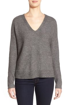 Eileen Fisher V-Neck Boxy Wool Blend Top (Regular & Petite)