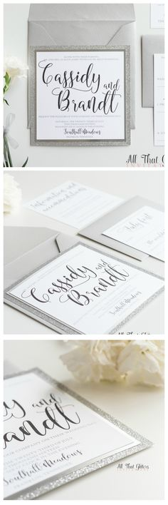 Our Cassidy suite featured in silver glitter & metallic silver backing is a SHOW STOPPER! A modern calligraphy font makes this beauty a little more modern than most. Silver glitter Wedding Invitations by All That Glitters Invitations