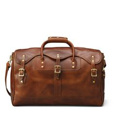 """JW Hulme's American version """"duffle"""" in our American Heritage brown leather bags is the sturdiest of luggage; both dust and rain resistant."""