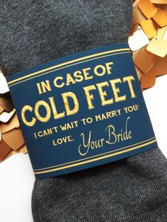 Congratulations on your engagement! This vivid, navy & gold paper label looks great in wedding prep photos and will last as a keepsake long after your wedding. - Label says: In Case of Cold Feet I Can