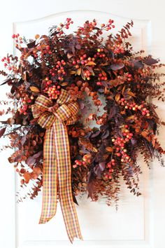 Lg. Fall Country Wreath, Eucalyptus Wreath, Autumn Wreath, Dried Wreath, Silk Wreath, Country Decor - FREE SHIPPING. $150.00, via Etsy.